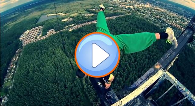 Extremsport Video: Alexander Rusinov Handstand ohne Sicherung in großer Höhe