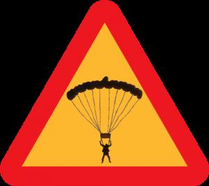 Schild: Achtung Extremsport! Schild mit Skydiver drin